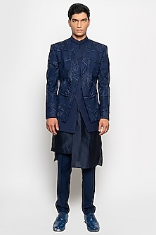 Navy Crescent Bandhgala Jacket With Pants by Amaare