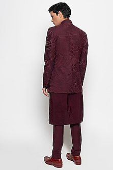 Wine Rigel Bandhgala Jacket With Pants by Amaare