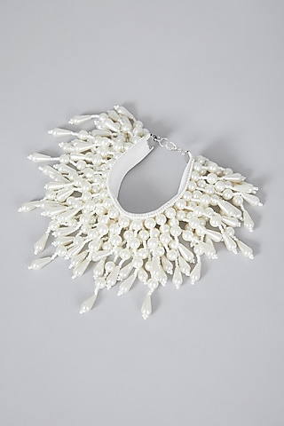 White Hand Embroidered Bracelet by AMAMA