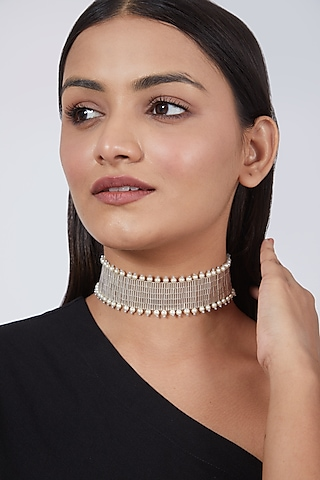 Silver Hand Embroidered Choker by AMAMA