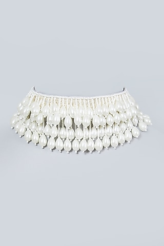 White Hand Embroidered Necklace by AMAMA