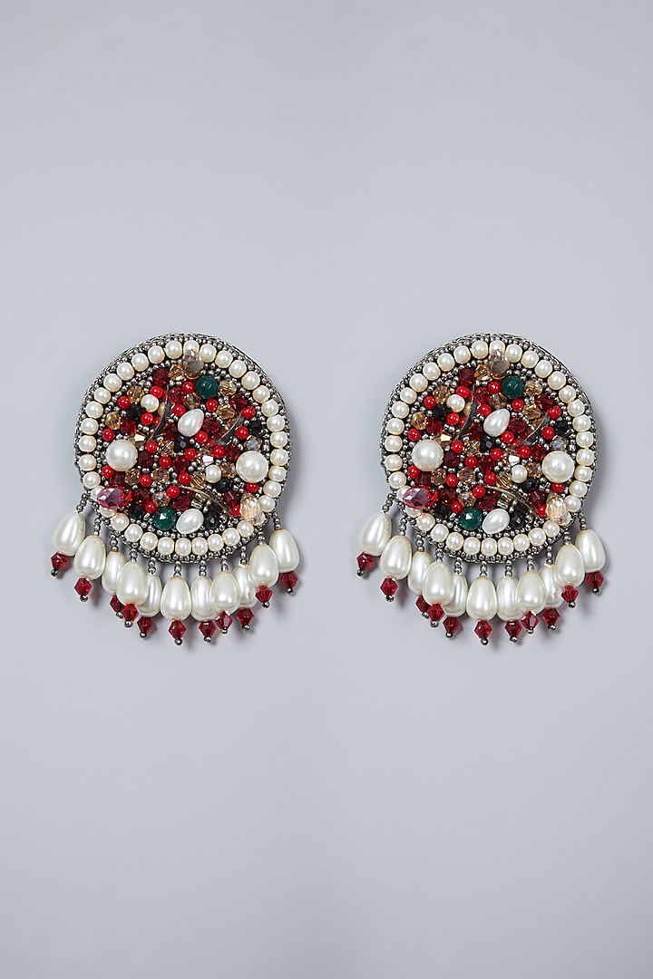 Multi Colored Hand Embroidered Earrings' by AMAMA