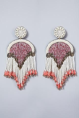 White Glass Stone Long Earrings by AMAMA