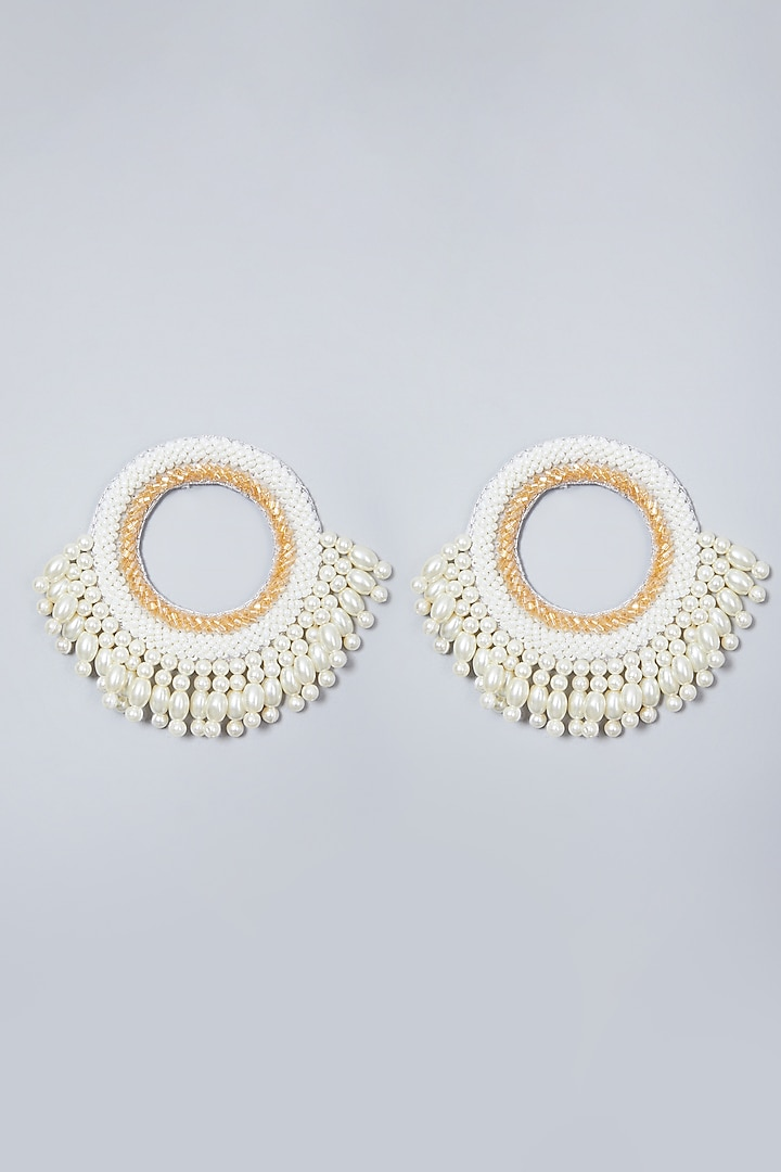White Embroidered Round Earrings by AMAMA