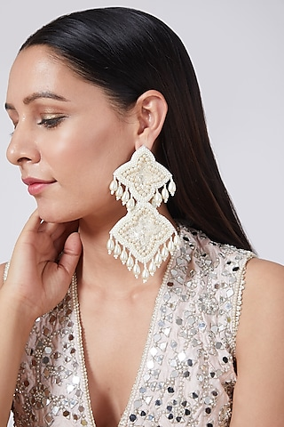 White Hand Embroidered Dangler Earrings by AMAMA
