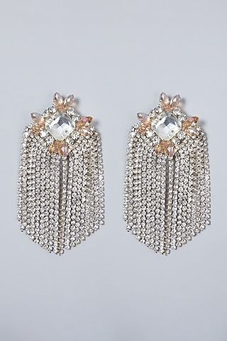 Silver Hand Embroidered Earrings by AMAMA