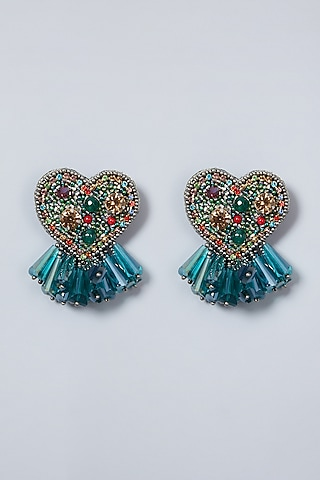 Green Embroidered Heart Earrings by AMAMA