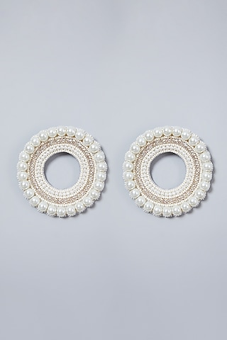 White Beaded Round Earrings by AMAMA