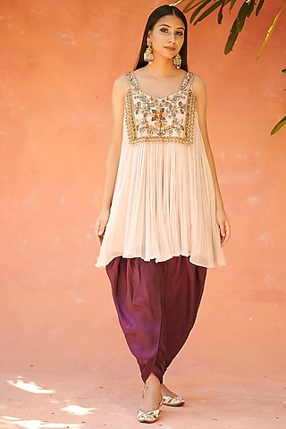 Light Beige Embroidered Dhoti Set by AMAN TAKYAR
