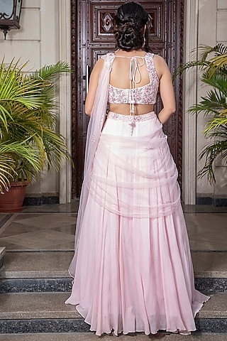 Light Pink Embroidered Draped Saree Set by AMIT GT