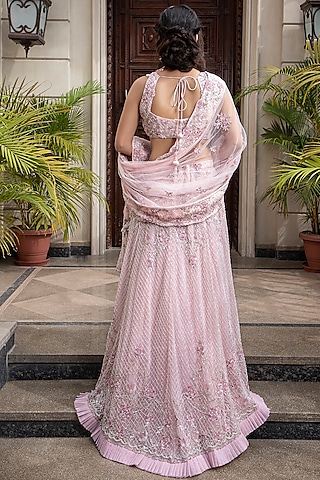 Light Pink Embroidered Lehenga Set by AMIT GT