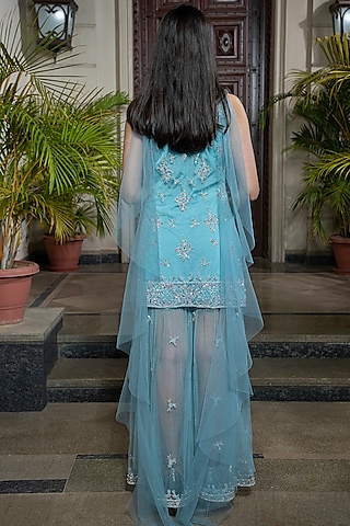 Powder Blue Hand Embroidered Sharara Set by AMIT GT