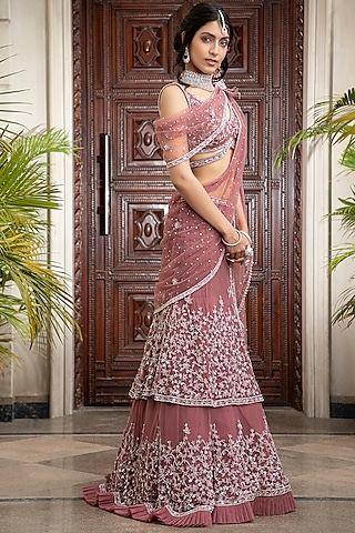 Rosewood Embroidered Lehenga Set by AMIT GT