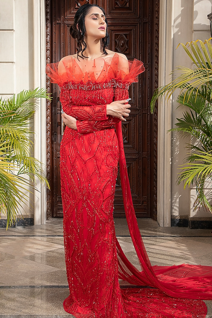 Red Embroidered Draped Lehenga Set by AMIT GT