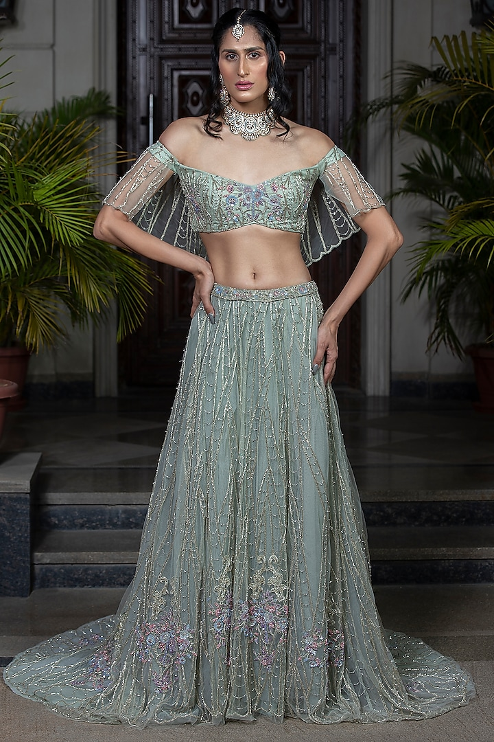 Sea Green Hand Embroidered Lehenga Set by AMIT GT