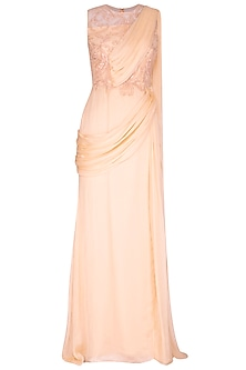 Peach Embroidered Saree Gown by AMIT GT