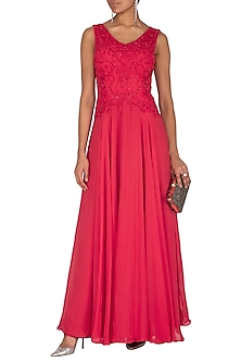 Red Embroidered Gown by AMIT GT