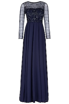 Blue Embroidered Flared Gown by AMIT GT