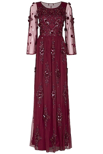 Maroon Floral Embroidered Gown by AMIT GT