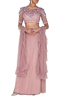 Lavender Embroidered Lehenga Set by AGT By Amit GT