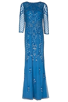 Metallic Blue Embroidered Gown by AGT By Amit GT