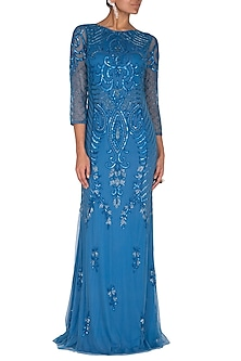 Metallic Blue Embroidered Gown by AMIT GT
