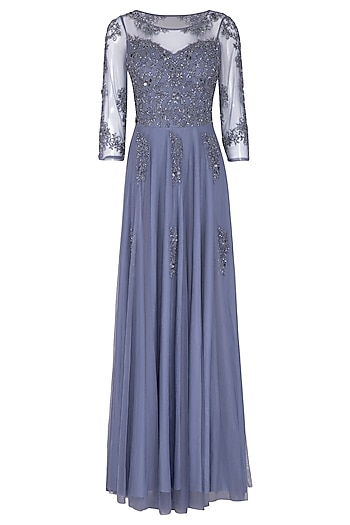 Tanzanite Blue Embroidered Gown by AMIT GT