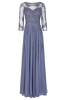 Tanzanite Blue Embroidered Gown by AGT By Amit GT