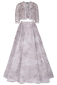 Lavender Grey Embroidered Lehenga Gown by AMIT GT