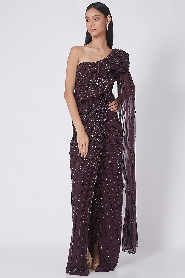 Maroon Embroidered Draped Saree Gown by Amit GT