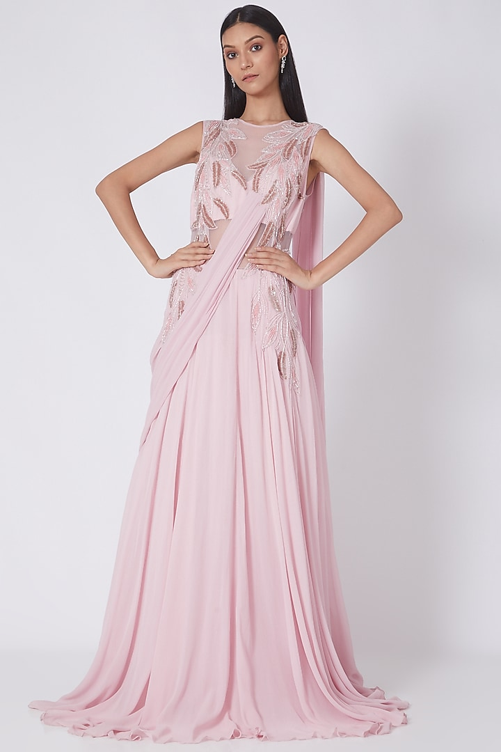 Blush Pink Motifs Embroidered Saree Gown by Amit GT