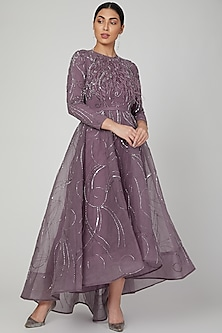 Lavender Appliques Embroidered Anarkali by AMIT GT