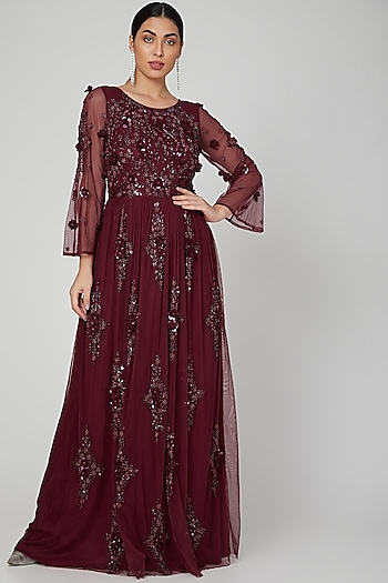 Red Sequins Embroidered Gown by AMIT GT