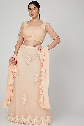 Peach Embroidered Lehenga Saree Set by AMIT GT