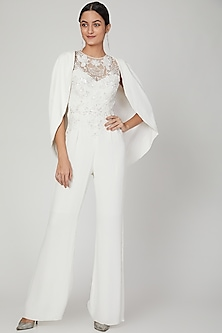 White Motif Embroidered Jumpsuit by AMIT GT