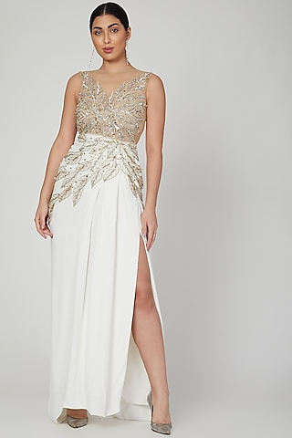 White Embroidered Gown With Slit by AMIT GT