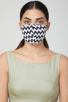 Sky Blue Printed Breathable Mask by AMIT GT