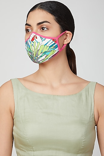 White Aztec Printed Mask by AMIT GT