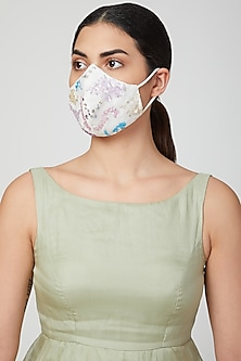 White Embroidered Breathable Mask by AMIT GT