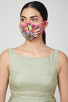 Fuchsia Printed Breathable Mask by AMIT GT
