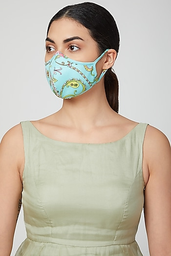 Turquoise Floral Printed Mask by AMIT GT