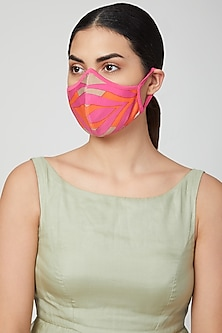 Orange Printed Breathable Mask by AMIT GT