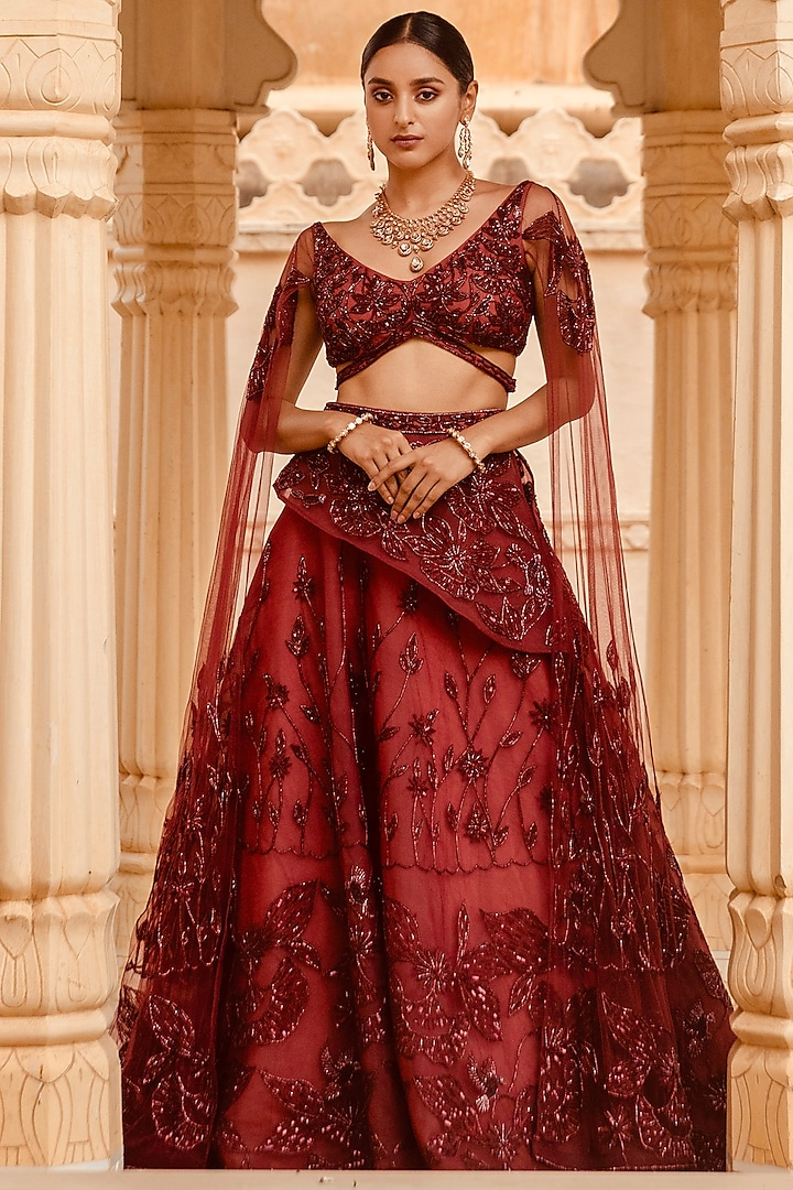 Cranberry Motifs Embroidered Lehenga Set by AMIT GT