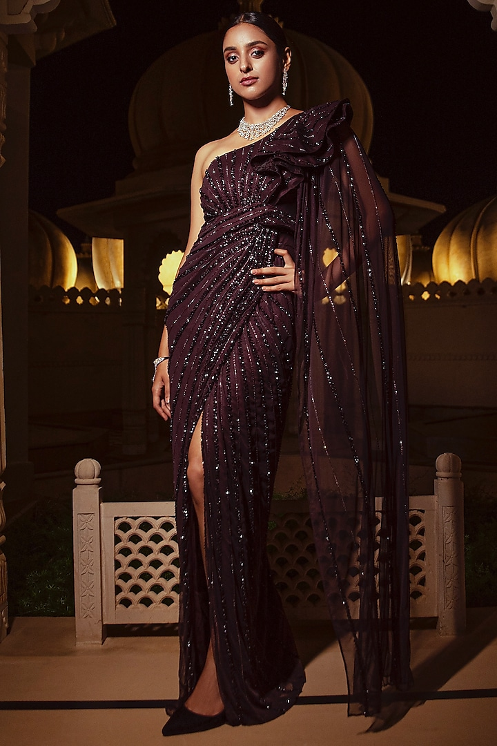 Bordeaux Embroidered Wrap-Around Gown Saree by AMIT GT