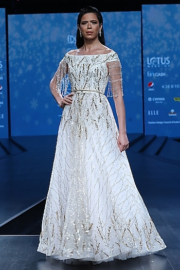 White Embroidered Cocktail Ball Gown by AMIT GT