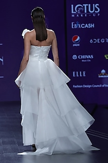 White Tiered Draped Ruffled Gown by AMIT GT
