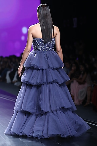 Midnight Blue Embroidered Tiered Ball Gown by AMIT GT
