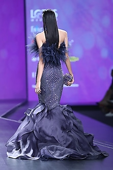 Tanzanite Blue Embroidered Mermaid Gown by AMIT GT