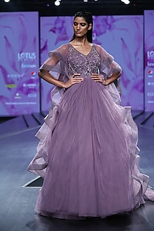 Lavender Embroidered Layered Ball Gown by AMIT GT