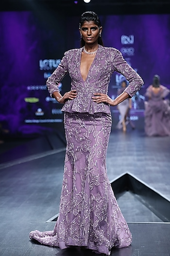 Lavender Embroidered Coat Gown by AMIT GT